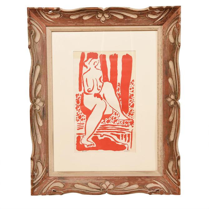 Vintage Maryette Charlton 'Red Nude' Artwork