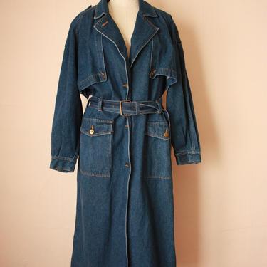 80s 90s Denim Trench Coat Long Denim Duster Jean Jacket Size M / L by NoSurrenderVintage