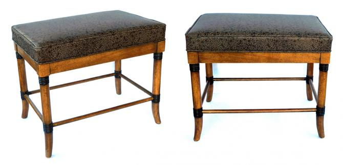 A Handsome Pair of American 1960's Ash Faux Bamboo Rectangular Stools/Benches