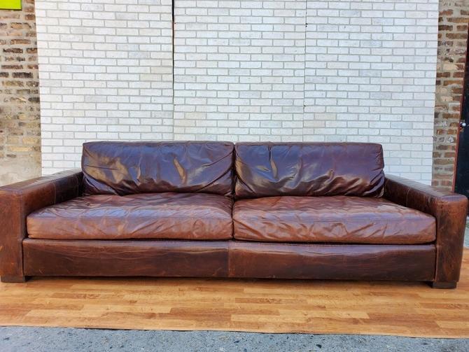 Restoration Hardware Classic 9 Feet Italian Brompton Cocoa Maxwell Leather Sofa
