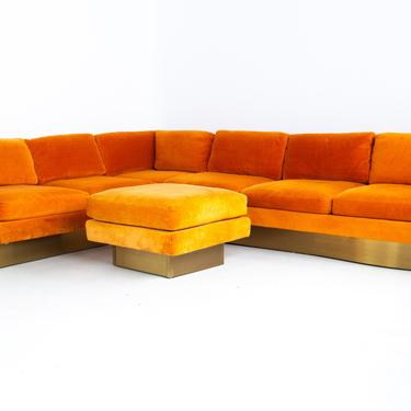 Milo Baughman Style Forecast Furniture Mid Century Orange Velvet and Bronze Pedestal Sectional Sofa and Ottoman - mcm by ModernHill