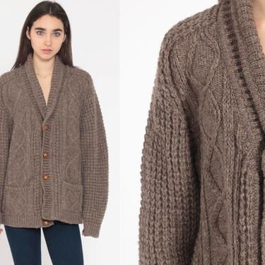 Wool Cable Knit Sweater Fisherman Cardigan Sweater 70s Boho Cream Bohemian Chunky Grandpa Vintage 80s Button Up Cableknit Medium Large by ShopExile