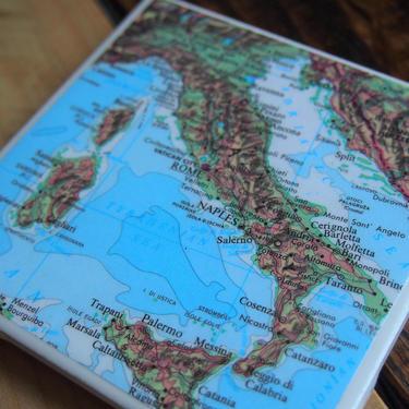 2005 Italy Handmade Repurposed Map Coaster - Ceramic Tile - Repurposed 2000s Rand McNally Atlas - Rome Milan Venice Florence Sicily by allmappedout
