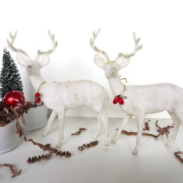 Vintage White Flocked Plastic Deer Set, Mid Century Chirstimas Decor, Set Of 2 Large Felted Deer With Antler Figurines by HerVintageCrush
