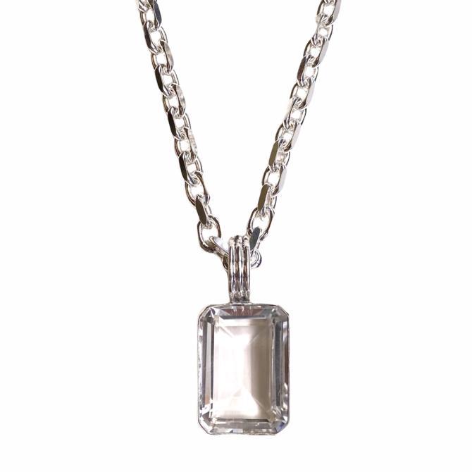 Sterling Silver Emerald Cut Pendant