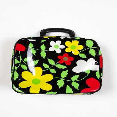 Amapola Case — vintage 60s handbag / boho black zippered cosmetic train travel case / retro top handle mod plastic floral lunchbox purse by fieldery