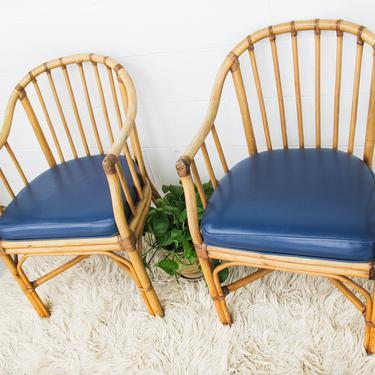 Set of 2 - Vintage Woven Bamboo Chairs with Blue Faux Leather Removable Seat Cushions by PortlandRevibe