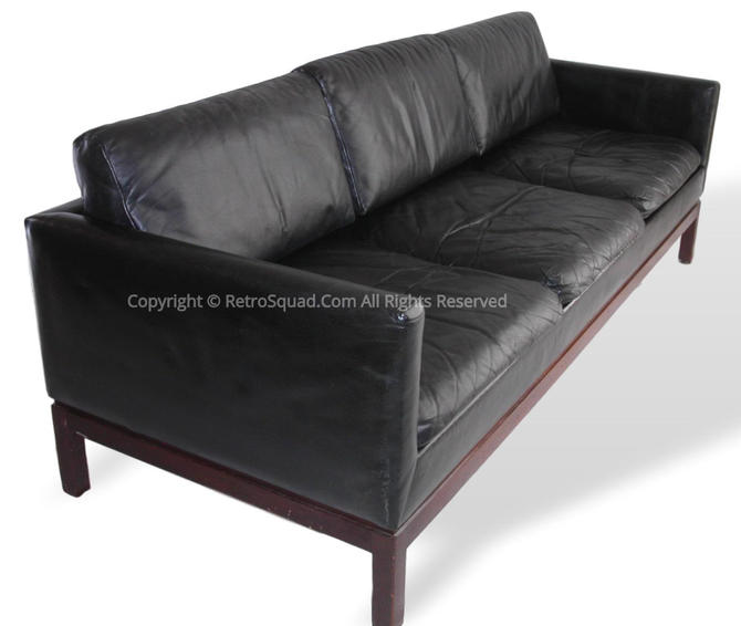 """Danish Modern Black Leather Sofa By """"Marble Imperial"""" - Comercial Funiture Quality Of Herman Miller & Knoll Mid Century Eames by RetroSquad"""