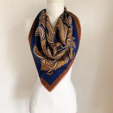 vintage 1970s navy + brown Italian wool scarf by MsTips