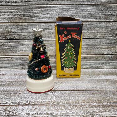 Vintage Wee Winking Xmas Tree w/ Box, WORKING Light Up Christmas Tree, Mid Century, Blinking Lights & Sound, Pigeon Japan, Vintage Christmas by AGoGoVintage