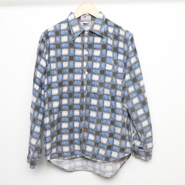 vintage BLUE & grey faded plaid flannel style oversize nirvana GRUNGE men's button down shirt -- size large by CairoVintage