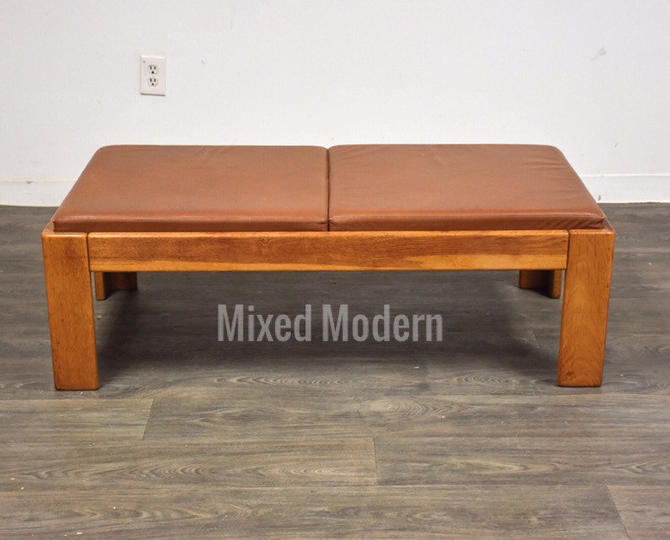 Modern Oak and Brown Leather Bench by Knoll by mixedmodern1
