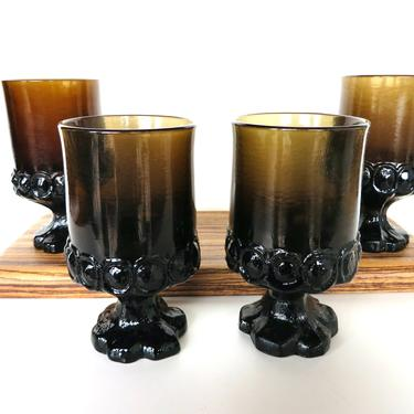 Set Of 4 Vintage Tiffin Franciscan Madeira Smokey Brown Wine Goblets, 1970s Heavy Glass Jewel Tone Goblets by HerVintageCrush
