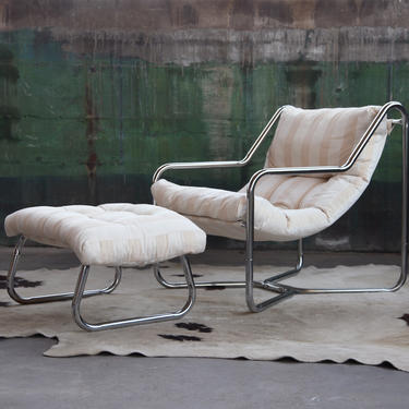 Post Modern Milo Baughman Jerry Johnson Style 70s Chrome Sling Chair and Ottoman SET Mid Century Modern style accent lounge chair MCM by CatchMyDriftVintage