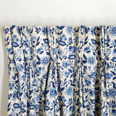 Vintage Blue Danube Drapes / Pinch Pleat Blue Onion Curtain / Blue Jacobean Floral Drapes / Cottagecore Kitchen Bay Window Curtain Panel Set by SoughtClothier