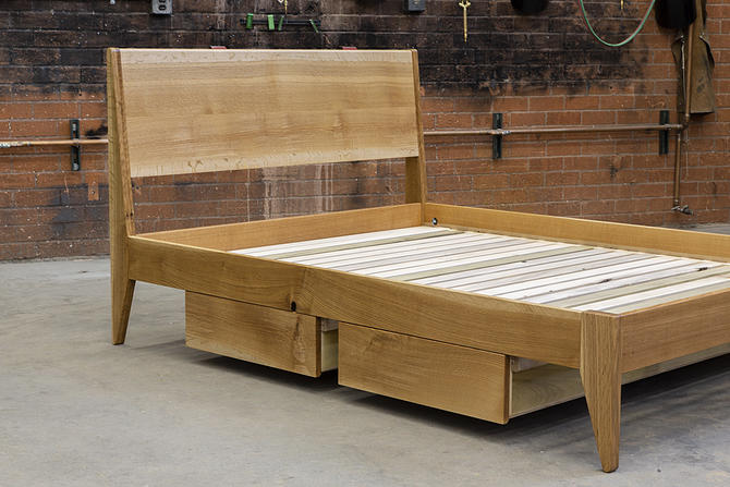 Willard White Oak Bed Frame // by Kyle D'Auria // Mid Century Modern MCM by kyledauria