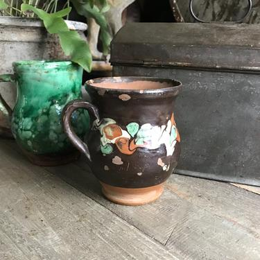 Antique Pottery Jug, Pitcher, Vase, Folk Art, Rustic Terra Cotta, Hand Thrown, Hand Painted, 19th C, Rustic Farmhouse, Farm Table by JansVintageStuff