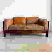 """1973 Rosewood and Cognac Leather Tobia Scarpa for Knoll """"Bastiano"""" Sofa"""