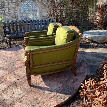 Pair of Mid-Century Hollywood Regency Style Green Silk Upholstered Arm Chairs, Custom Made by Thomasville by PrimaForme