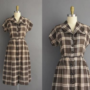 1950s vintage dress   Brown Plaid Print Short Sleeve Full Skirt Summer Shirt Dress   Medium   50s dress by simplicityisbliss