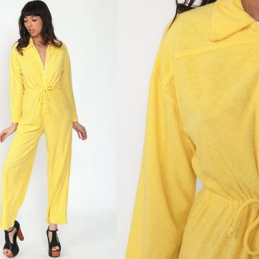 70s Jumpsuit Yellow TERRY CLOTH Bell Bottom Pants Boho Hippie Front Zip Disco Bohemian One Piece Vintage Pantsuit Long Sleeve Medium by ShopExile
