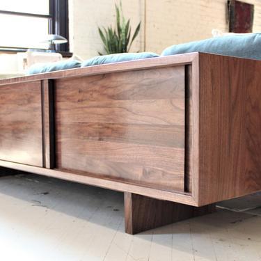 80 inch Custom handmade solid walnut media console cabinet sofa table in mid century minimalist style by GideonWoodworker
