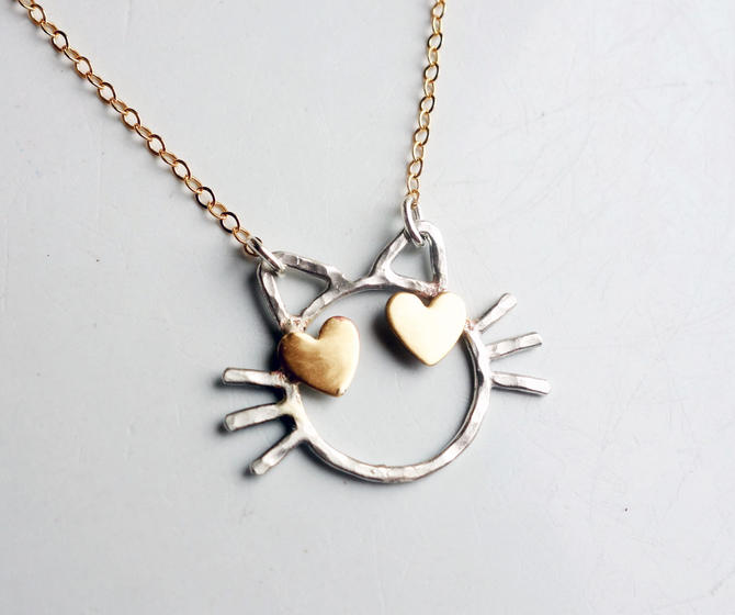 Cat with Heart Eyes Necklace- Two Toned Love Cat - Handmade Sterling silver emoji cat with brass heart eyes by RachelPfefferDesigns
