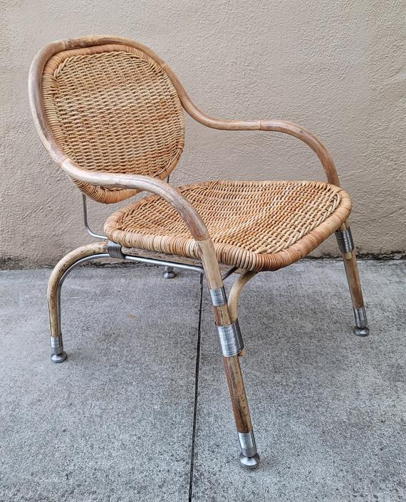 Mats Theselius for Ikea Wicker, Rattan, and Steel Armchair