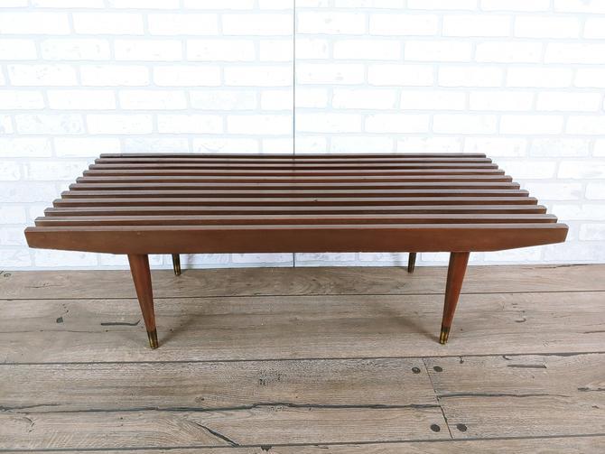 Mid Century Modern Wood Slat Bench/Coffee Table by RedsRustyRelics