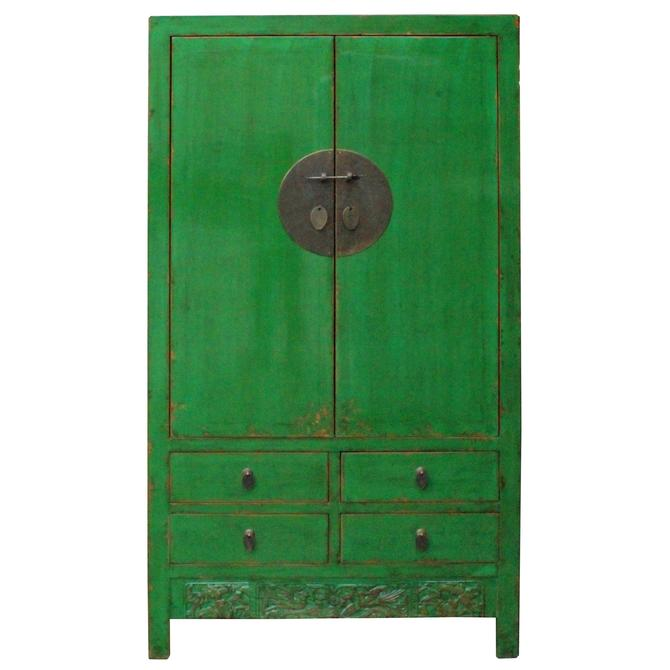 Chinese Distressed Emerald Green Tall Wedding Armoire Wardrobe TV Cabinet cs4905S