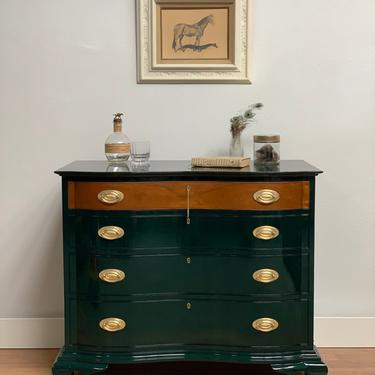 Richmond Biggs Dresser Chest of Drawers in Green Lacquer and Brass by McKennaDesignCompany