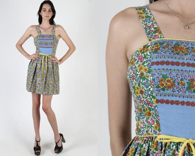 Bright Calico Floral Mini Dress / Vintage 70s Dirndl Inspired Dress / Festival Summer Lounge Waist Tie Dress by americanarchive