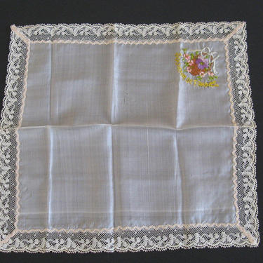 SOUVENIR de FRANCE Hankie, Antique French Hanky, WWI Souvenir, Embroidered Silk Lace Hanky, Antique Silk Hanky by eClectricityVintage