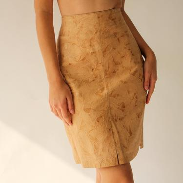 Vintage 70s Tan Crinkled Leather High Waisted Skirt | 100% Genuine Leather | Western, Prairie, Boho | 1970s Boho Butter Soft Leather Skirt by TheVault1969
