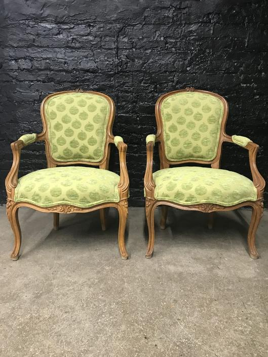 Pair of Green French Louis XVI Style Fauteuils