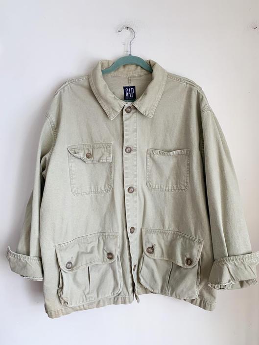 Vintage 1990s Khaki Chore Jacket / men's XL by MsTips