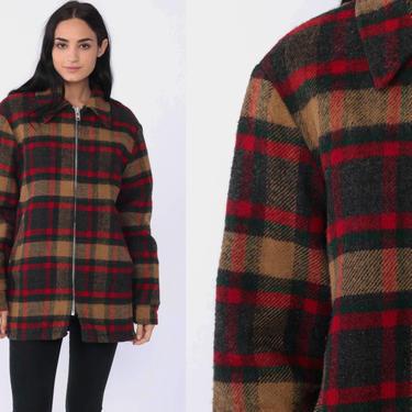Woolrich Wool Jacket Grey Plaid Jacket 70s Lumberjack Flannel Jacket 70s Coat Zip Up Warm Vintage 1970s Vtg Medium Large by ShopExile