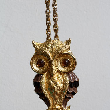Boho 70s Gold Owl Pendant Necklace, Owl Lover, Mid Century, Glam, Glamorous Statement Necklace, Funky Unique, by FORAGEmodernhome