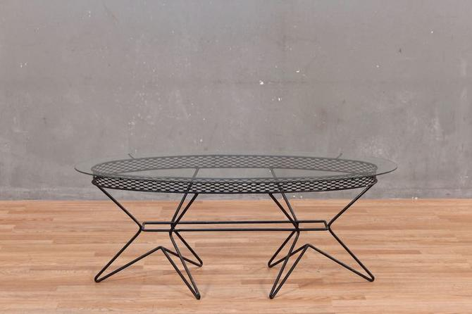Atomic Wire & Glass Oval Coffee Table