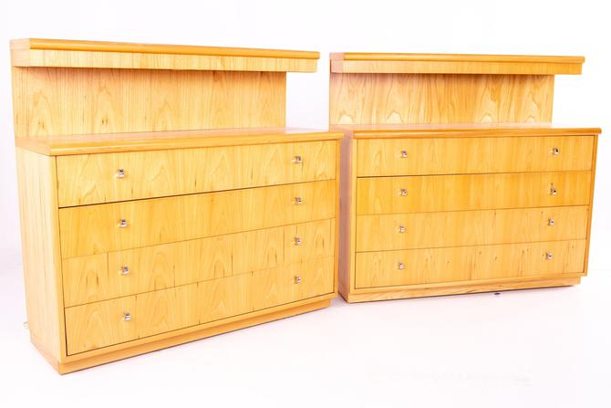 Jack Cartwright for Founders Mid Century Lighted Blonde Maple 4 Drawer Low Dresser Chest - Pair by ModernHill