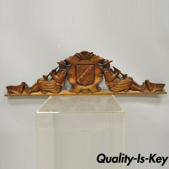 Antique Dutch Renaissance Figural Walnut Wood Carving Wall Pediment Dutch Men
