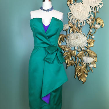 victor costa dress, vintage formal dress, 1980s cocktail dress, x small, green satin dress, structural dress, strapless dress, designer by BlackLabelVintageWA