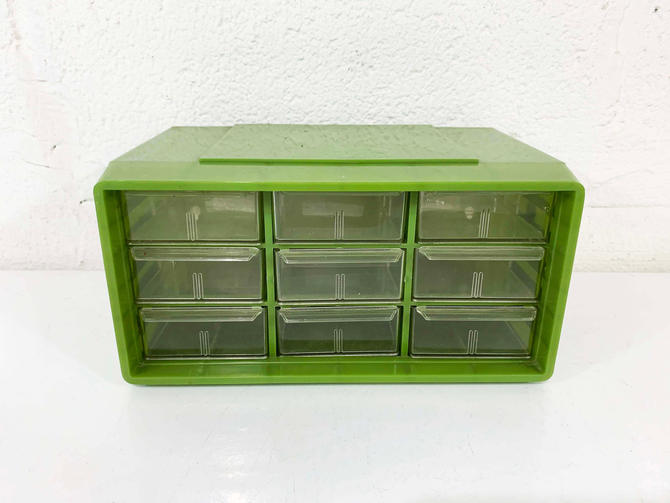 True Vintage Akro-Mils Drawers Green 9 Drawer Craft Storage Box Plastic Storage Container Beads Crafts Akro Mils Akron Ohio Myers Cabinet by CheckEngineVintage