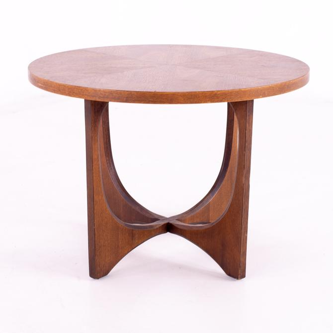 Restored Broyhill Brasilia Mid Century Round Brutalist Walnut Side End Table - mcm by ModernHill