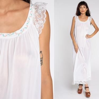 White Nightgown Tent Lingerie Slip Dress Nylon Lace Babydoll Maxi 70s Nightie Semi-Sheer Boho Long Vintage 1970s Bohemian Sleeveless Large by ShopExile