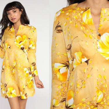 Floral Babydoll Dress 70s Mod Mini Long Sleeve Yellow Empire Waist 60s Vintage Dolly Gogo 1970s Seventies Medium by ShopExile