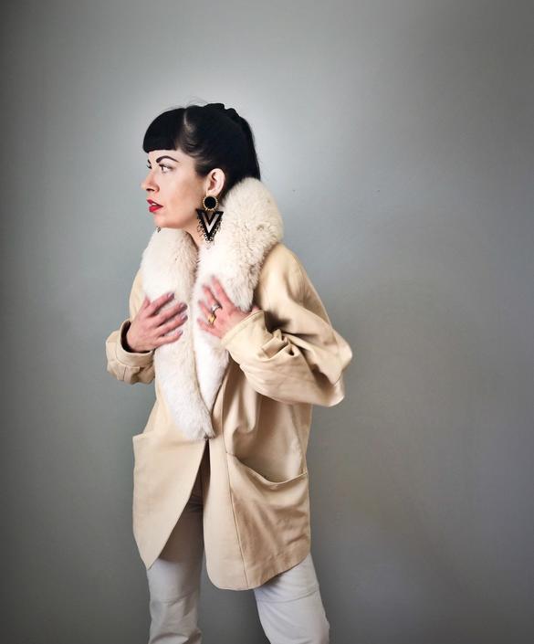 Vintage Buttercream Leather Jacket w/ Fox Fur Collar by SpeakVintageDC