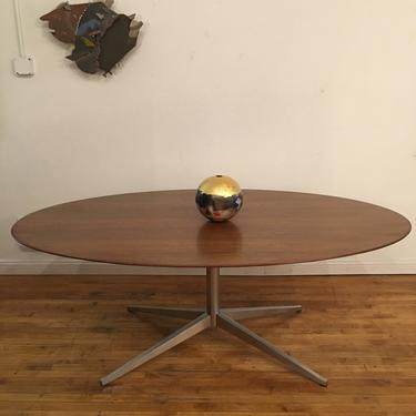 Florence Knoll Oval Top Walnut Steel Dining Table