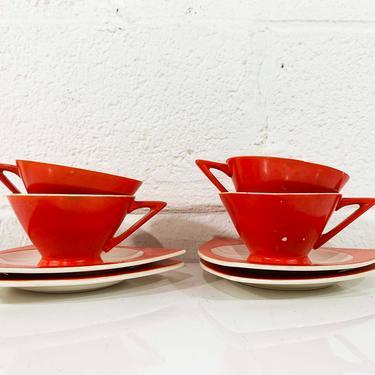 True Vintage Salem Tricorne China Set Four Coffee Cups Saucers Atomic Art Deco Streamline Mandarin Orange Red Mid-Century Triangular Tea 30s by CheckEngineVintage
