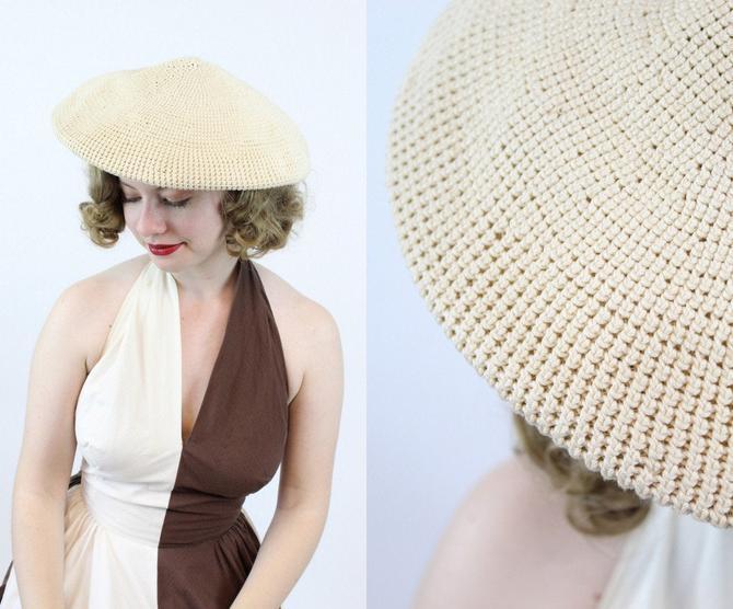 1940s crochet tilt beret hat | vintage platter hat | new in by CrushVintage
